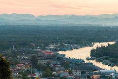 Fishing village. Aerial view of local fishing village of Thailand Stock Photo