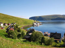 Fishing village Akkarfjord in summer Royalty Free Stock Photography