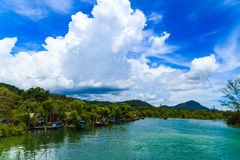 Fishing village with blue sky. stock images