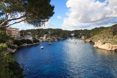 Fishing village Cala Figuera bay panorama and Mediterranean Sea, Majorca Stock Photos
