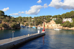 Fishing village Cala Figuera bay panorama and Mediterranean Sea, Majorca Stock Images