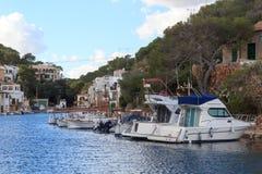 Fishing village Cala Figuera port, boats and Mediterranean Sea, Majorca Stock Images