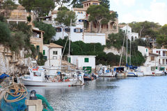 Fishing village Cala Figuera port, boats and Mediterranean Sea, Majorca Royalty Free Stock Images