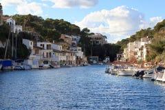Fishing village Cala Figuera port, boats and Mediterranean Sea, Majorca Stock Photography