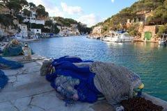 Fishing village Cala Figuera port and Mediterranean Sea, Majorca Royalty Free Stock Images