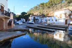 Fishing village Cala Figuera port with slipway and boats, Majorca Royalty Free Stock Image