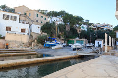 Fishing village Cala Figuera port with slipway and boats, Majorca Royalty Free Stock Photos