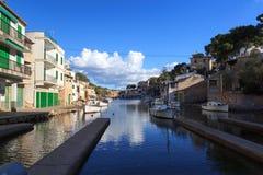 Fishing village Cala Figuera port with slipway, boatshouses and boats, Majorca Stock Image