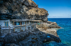 Fishing village caves in La Palma. Coast Royalty Free Stock Photos
