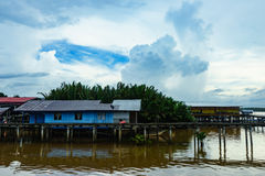 Fishing village and Cloudy sky. Fishing village in East Malaysia. Limpid water and Cloudy sky Royalty Free Stock Images