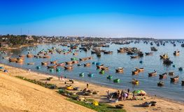Fishing village and colorful fishing boats near Mui Ne Royalty Free Stock Image