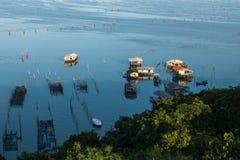 Fishing village at Crab Island, selangor Malaysia. With sunrise royalty free stock photos