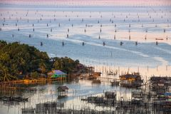 Fishing village at Crab Island, selangor Malaysia. With sunrise Royalty Free Stock Images