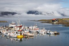 Fishing Village Djupivogur Harbour, Iceland Royalty Free Stock Photography