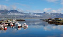 Fishing village, Djupivogur, Iceland. This is a beautiful landscape of a traditional fishing village in Iceland called Djupivogur Stock Images