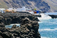 Fishing village El Remo along the volcanoes and the Atlantic Ocean, La Palma, Spain Stock Photography