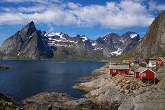 Fishing village by fjord Royalty Free Stock Photo