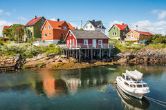 Fishing village Henningsvaer in Lofoten islands, Norway. With typical colorful wooden buildings Stock Photography