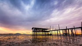 Fishing village house in Malaysia stock photos
