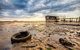 Fishing village house in Malaysia royalty free stock photography
