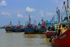 Fishing Village at Hutan Melintang, Perak, Malaysia. Royalty Free Stock Photography