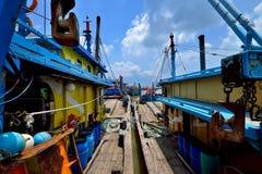 Fishing Village at Hutan Melintang, Perak, Malaysia. Stock Photos