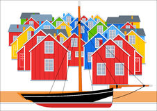 Fishing village illustration Royalty Free Stock Images