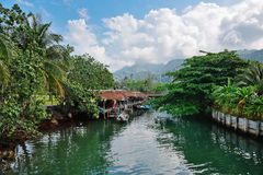 Fishing village on the island in Asia Stock Image