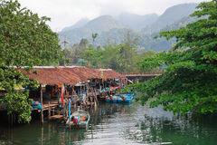 Fishing village on the island in Asia Royalty Free Stock Photos