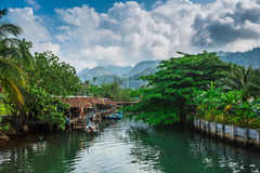 Fishing village on the island in Southeast Asia. Royalty Free Stock Images