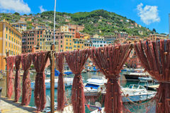 Fishing village Italy view with fishing nets Royalty Free Stock Photos