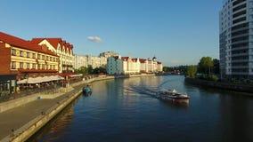 The Fishing Village, Kaliningrad. The Fishing Village, most visible landmark of Kaliningrad, evening time stock video