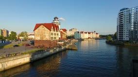 The Fishing Village, Kaliningrad. The Fishing Village, most visible landmark of Kaliningrad, evening time stock video footage