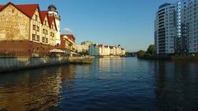 The Fishing Village, Kaliningrad. The Fishing Village, most visible landmark of Kaliningrad, evening time stock footage