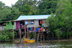 Fishing village, Kampung Salak, Borneo, Malaysia Royalty Free Stock Photo
