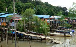 Fishing village, Kampung Salak, Borneo, Malaysia Royalty Free Stock Photos