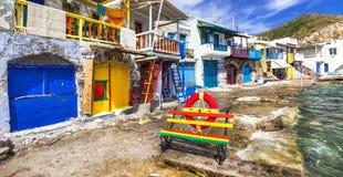 fishing village Klima, Milos island Royalty Free Stock Images