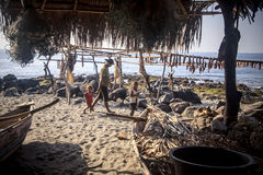 Fishing village Lamalera is located on the island of Lembata. Stock Photos