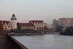 Fishing village lighthouse, Kaliningrad royalty free stock photos