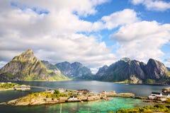 Fishing village in Lofoten Islands stock image