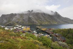 Fishing village on the Lofoten Islands Norway Royalty Free Stock Images