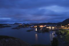 Fishing village on the Lofoten Islands Norway at night Royalty Free Stock Photo