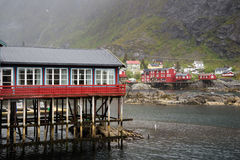 Fishing village on Lofoten Islands in Norway. Photo of a fishing village on Lofoten Islands, Norway. Nature photography royalty free stock images