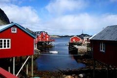 Fishing village in the Lofoten Islands, Norway. View over a small fishing village in the Lofoten Islands, Northern Norway Royalty Free Stock Photos