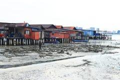 Fishing village. Marine fishing village built in sea at Penang Malaysia stock photos