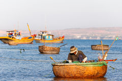 Fishing village, market and colorful fishing boats, Vietnam. Royalty Free Stock Photos