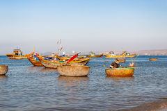Fishing village, market and colorful fishing boats, Vietnam. Stock Photo