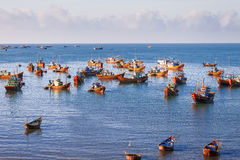 Fishing village, market and colorful traditional fishing boats Royalty Free Stock Photos
