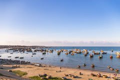 Fishing village, market and colorful traditional fishing boats Royalty Free Stock Image