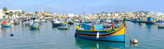 The fishing village of Marsaxlokk on Malta island. Marsaxlokk, Malta - 3 November 2017: The fishing village of Marsaxlokk on Malta island Stock Images